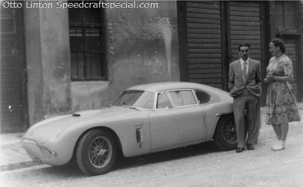 Otto Linton with Siata 208CS on the streets of Vienna 1952