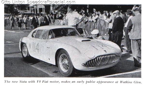 Otto Linton with the Siata 208CS at Watkins Glen 1952